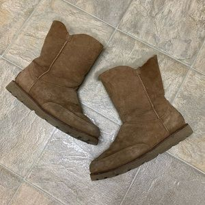 Ugg Chestnut Boots with unique green thread detail